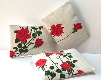 BRIDESMAID CLUTCHES, Bacara Rose Clutch, Wedding floral clutch, Shaheen fabric, evening bag, zipper clutch, set of 3 bridesmaid clutch