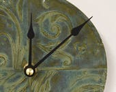 Victorian Garden patterned Ceramic Wall Clock in Cloudy Green