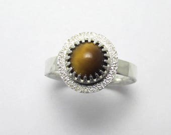 Tiger's Eye cabochon halo Polished Sterling Silver gemstone ring Hammered Finish 1.70 ct Sz 8 1/2