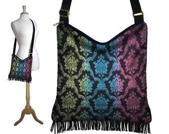 Boho Bag, Hippie Bag, Crossbody Purse, Damask Fabric Handbags, Hobo Purses, Gypsy Fringe Purse, Colorful Medieval Renaissance Clothing RTS