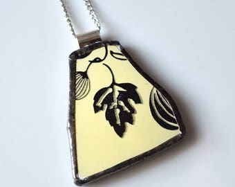 Broken China Jewelry Pendant - Yellow and Black Gooseberry Pyrex