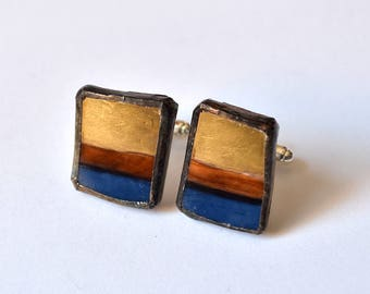 Broken China Cuff Links - Blue and Gold