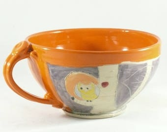 Handmade soup bowl with handle soup mug Latte cup with owl, Cappuccino Mug, Holds 24 ounces / Decorative Dish 850