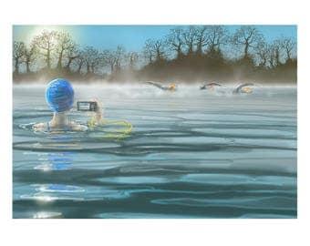 greetings card: winter swimming, 'Last Swim of 2016'