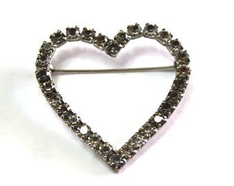 Vintage 60s Heart brooch pin Czech Crystal Silver Large Heart pin broch