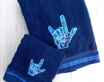 ASL Sign Language I Love You Hand Symbol Hand & Bath Towel Set - Dorm Decor - Sign Language Towels - Graduation Gift - Navy Blue - Teen Gift