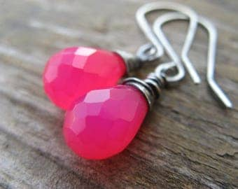 hot pink chalcedony earrings, rustic, oxidized silver