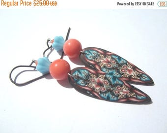 CIJ SALE Pink Orange Coral Turquoise Polymer Clay Earrings, Poly Clay Dangle Earrings, Dagger Poly Clay Earrings in Turquoise Coral And Brow