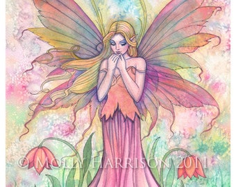 Fairy Print - Wildflower Watercolor Fairy Fantasy Art by Molly Harrison 8 x 10