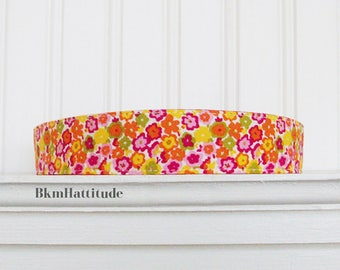 Womens Headband, Fabric Headband, White, Orange, Yellow and Pink,  Floral Headband, Adult Headband, Cotton Headband