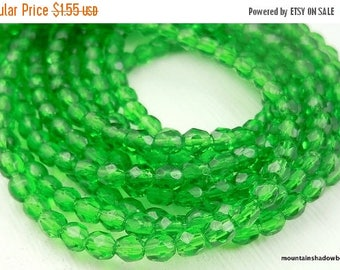 25% OFF Sale 3mm Czech Glass Beads - Firepolished Faceted Emerald (G - 54)
