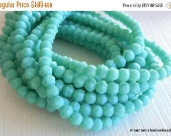 20% Summer SALE 3mm English Cut Beads - Matte Turquoise - Czech Glass 50 pcs (SP- 60)