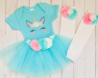 Unicorn tutu outfit... new baby .. aqua and pink unicorn outfit. Baby shower -- photo prop