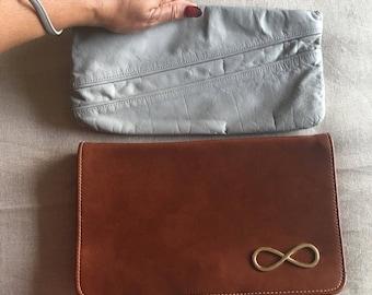 Vintage Vegan Leather Clutch Purse - grey vegan leather clutch - vegan leather purse - Infinity Sign in brass Clutch Purse