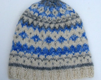 Hand Knit Fair Isle Alpaca and Wool Hat for Men and Women -  White, Gray and Blue - Winter Slouchy Beanie, Cloche, Slouch