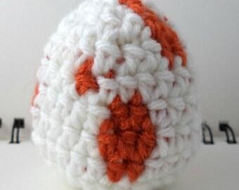 Crocheted Monster Egg - White and Orange