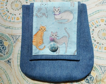 Denim Belt Pouch With Button Closure - Great For Dog Walkers