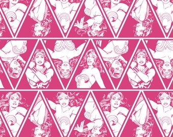 """Wonder Woman 3"""" Tall Triangles in Pink Magenta Licensed DC Camelot Fabric By The Yard"""