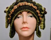 Reserve listing for Apopli Woolmountain Crochet Hat with Earflaps and Corkscrews Freeform Freestyle