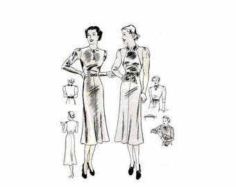 SALE 1930s Misses Dress with Four Gored Skirt Butterick 7555 Vintage Sewing Pattern Womens Frock Detachable Plastron Collar Cuffs Size 14 Bu