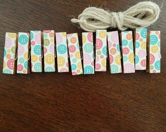 Mini Bright Buttons Clips w Natural Twine, Pic Display, Chunky Little Clothespins, Set of 12 Baby Shower Birthday Seamstress Clothesline