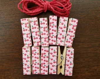 Clothesline Bunting - Fruity Fun Retro Cherry Fruit Salad - Chunky Clothespins w Twine for Display - Wooden Clips Set of 12 - Photo Studio