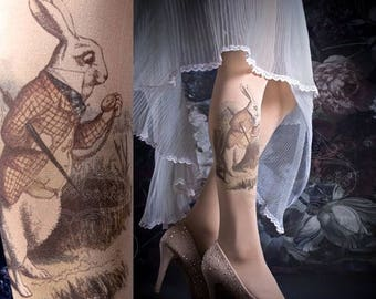 SALE///Happy2018/// Tattoo Tights -  ALICE one size nude full length printed tights, pantyhose, nylons by tattoosocks
