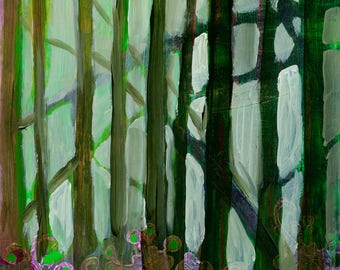 Tree Abstract - ORIGINAL Painting on 8x10 Wood Panel by JENLO