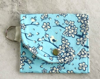 Floral Coin purse, Keychain wallet, Flowers and birds on Teal, gift for her, under 10 dollars, Vegan, Spring gift, Mother's day gift