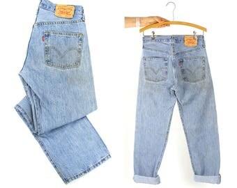 "Levi's 501 Jeans / Vintage Distressed High Waist Button Fly Medium Wash Denim / Worn In Faded / Unisex 29"" x 31.5"""