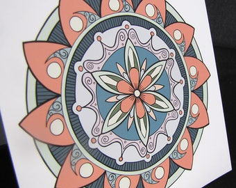 Victorian Coral Lavender Grey Mandala Card and Matching Stickers