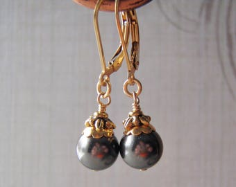 Black Swarovski Pearl Earrings 14k Gold Filled Ear Wire 8 mm Crystal Pearl Dangle Gift Boxed