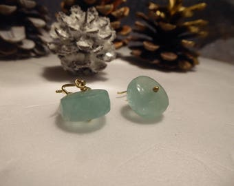 Aqua green Fluorite Drops 18K gold Kidney wire solid gold earrings, 30 carats fluorite earrings, 18ct yellow gold gemstone earrings, luxury