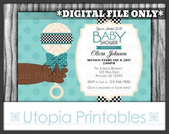 Glam Rattle African American Baby Shower Invitation Party Ethnic Black Afrocentric Theme Cute Digital Printable Customized 5x7 Blue Teal