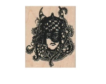 woman face stamp rubber stamp steampunk style 19220  Mary Vogel Lozinak pinkflamingo61