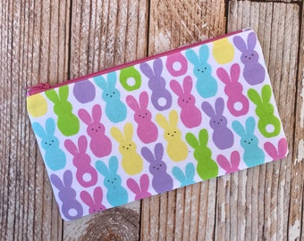 Bunny Zipper Pouch Pencil Case Easter Gift Bunny Lover Bright Colors Pencil Pouch School Supplies Cosmetic Bag
