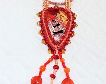 Red, Orange and Gold Fused Glass Jewelry, Bead Embroidery Dichroic Glass Pendant, Bead Embroidered Glass with Fringe, Dragonfly Pendant