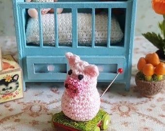 Miniature Piggie Pulltoy OOAK Crochet