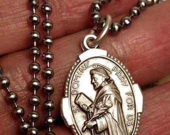Saint Dominic St Ann Long Religious Medal Pendant Necklace Steel Chain Silver Tone