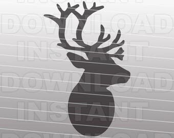Reindeer SVG File,Reindeer Head SVG File,Christmas SVG File-Die Cut,Vector Clip Art Commercial & Personal Use Cricut,Silhouette,Cameo,Vinyl