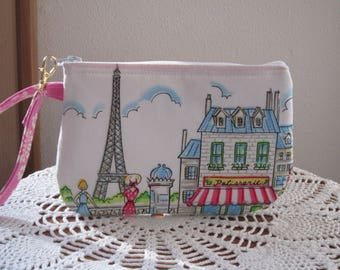 Wristlet Zipper Gadget Purse Pouch in Cafe Rouge