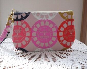 Smart phone View-Master Reels in Pink Case Gadget Pouch Clutch Wristlet Zipper Gadget Pouch