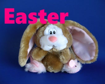 Vintage Easter Bunny Rabbit Stuffed Animal Applause Pink Bunny Slippers Brown Bunny Pink Ears Pink Nose 1980s Toy Lop Eared Bunny Plush