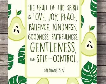 Fruit of the Spirit, Galatians 5v22, green pear, Pear, typography, Scripture print, Printable bible verse, fruit print, Bible verse wall art