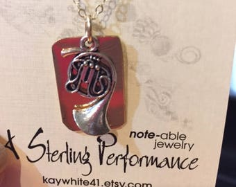 SOLD OUT - French Horn Charm Necklace - 14K GF Chain and Back Plate - 16 Inches
