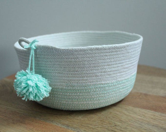 Basket rope coil mint pompom thread natural bin storage organizer bowl by PETUNIAS