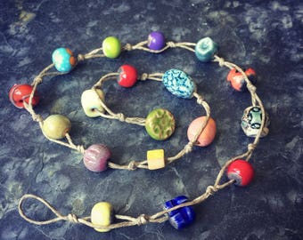 Color Full Ceramic and Glass Knotted Necklace