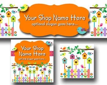 New! Premade Etsy Cover Photo - Large Etsy Banner - Etsy Shop Banner - SHOP ICON - Shop Profile - Birdhouses - Boutique Birds
