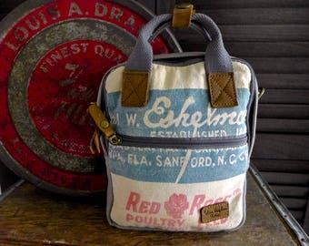Red Rose Eschelman - Minnesota - Mini Backpack/ Shoulder Bag/ Mini Tote - Vintage seed sack Canvas & Leather Bag Selina Vaughan Studios