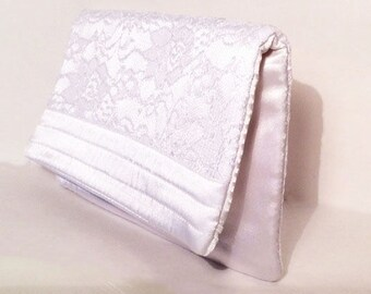 Fold over Clutch, White rose motif lace and satin. Perfect wedding Gift